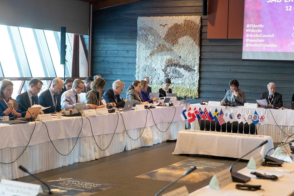 Arktisen neuvoston virkamieskomitea kokoontui Suomen puheenjohtajakauden viimeisen täysistuntoon Rukalla 12.-14.3. Kuva: Kaisa Sirén