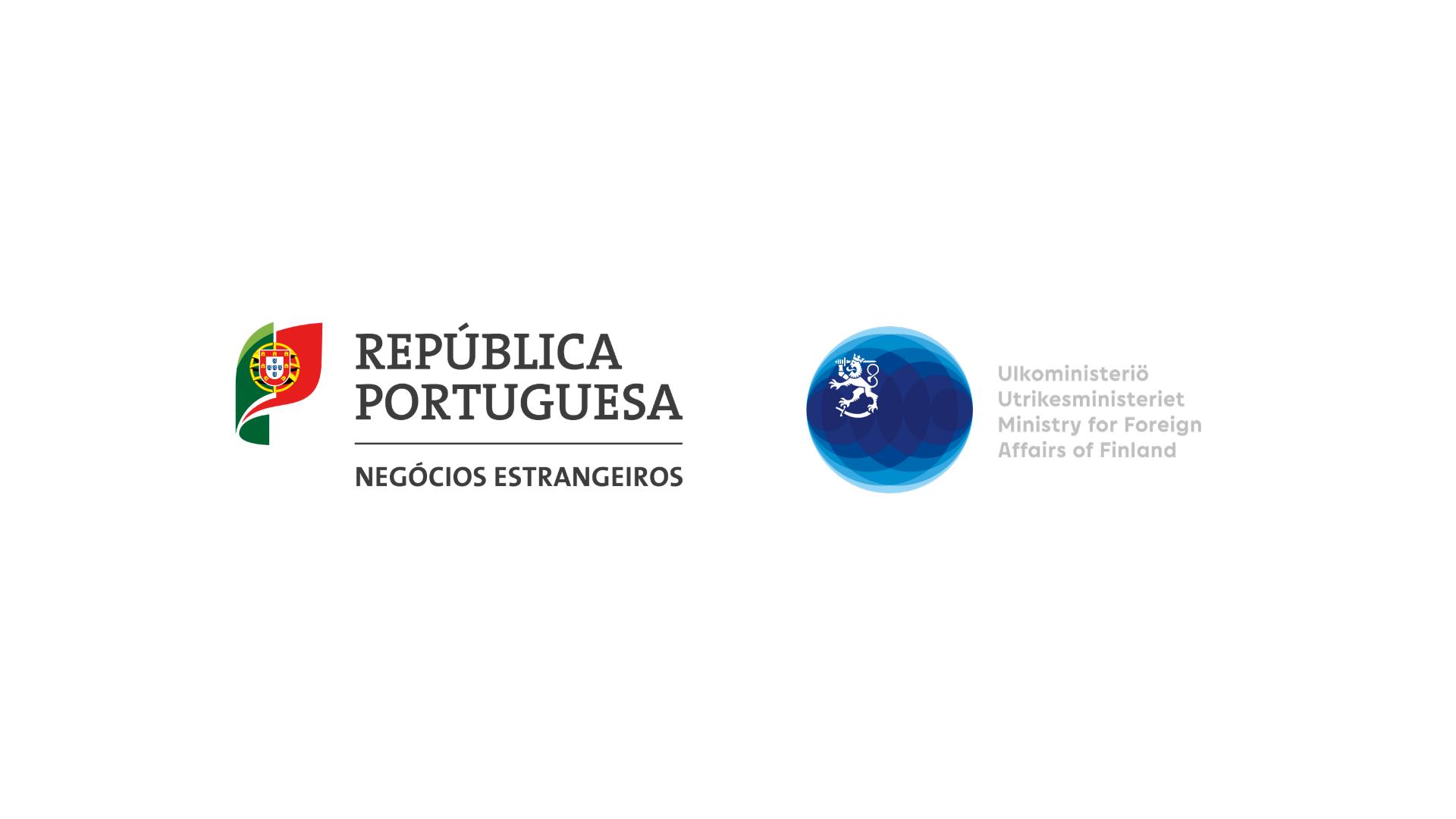 Portugalin ulkoministeriön ja Suomen ulkoministeriön logot