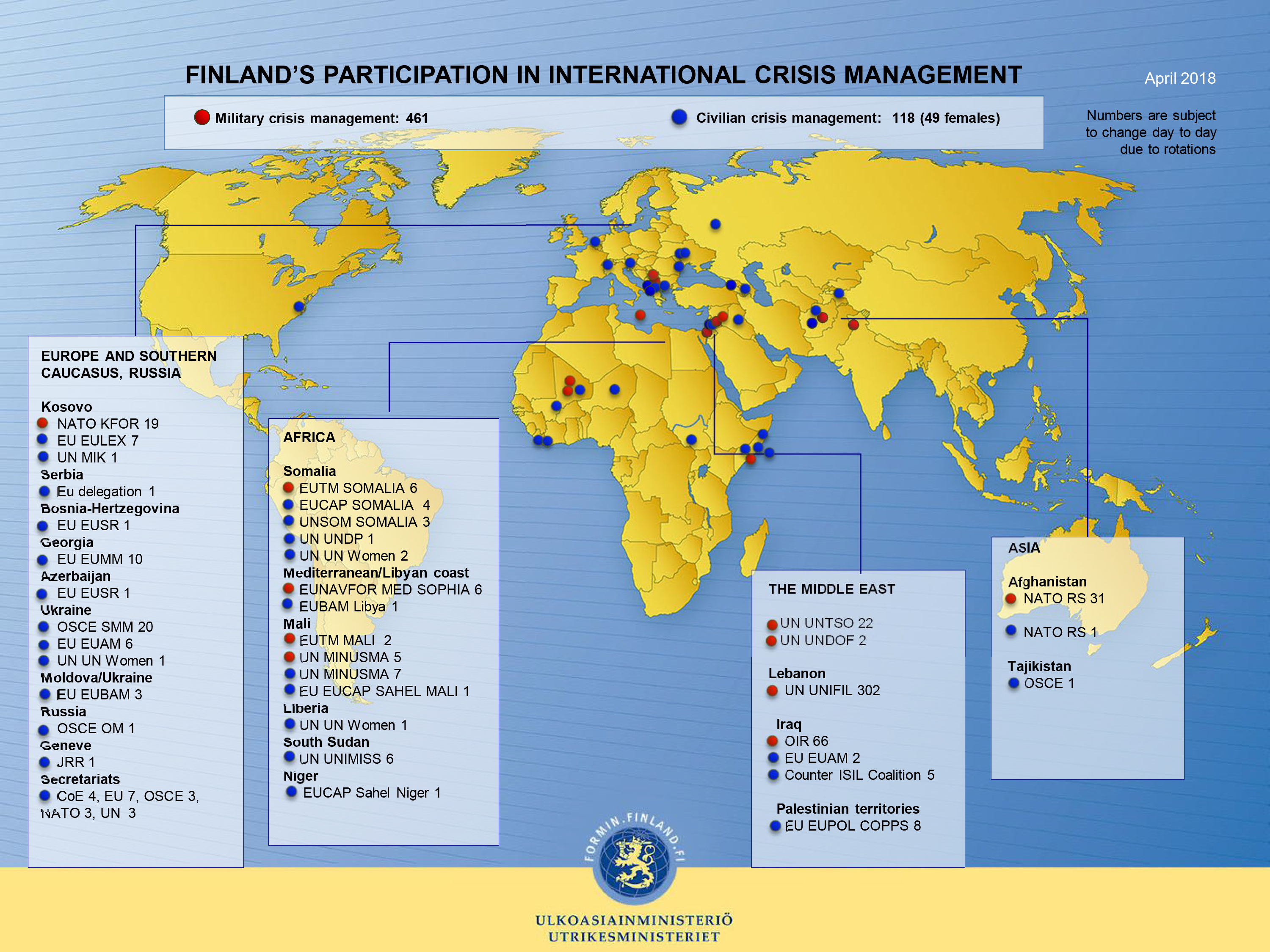 Finland's participation in international crisis management, April 2018