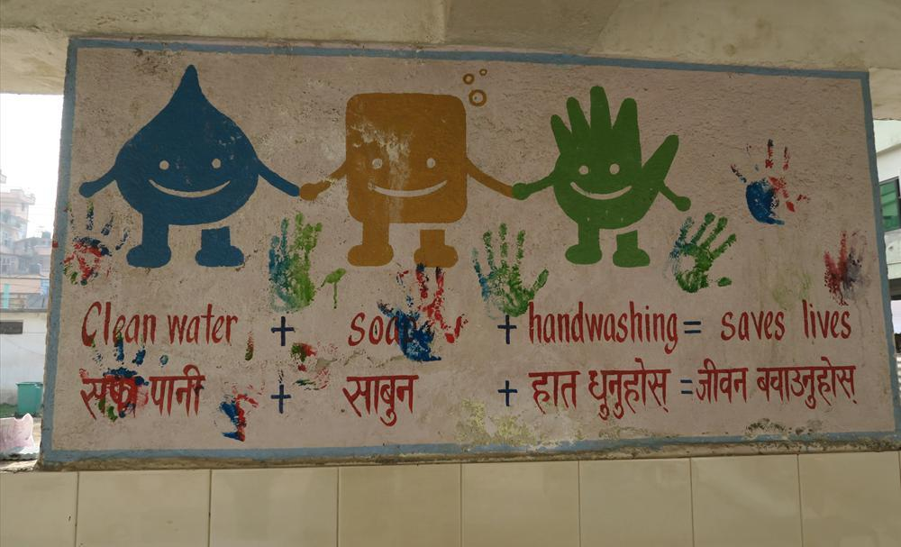 Finland's development cooperation in Nepal aims, for example, to improved health through access to safe water and sanitation. This Informative handwashing sign is displayed at a Kathmandu school. Photo: Hanna Päivärinta/Foreign Ministry